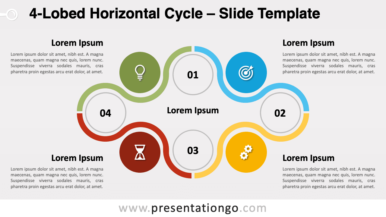 Free 4-Lobed Horizontal Cycle for PowerPoint and Google Slides