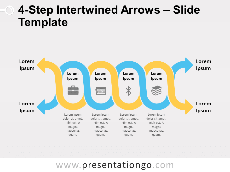 Free 4-Step Intertwined Arrows for PowerPoint
