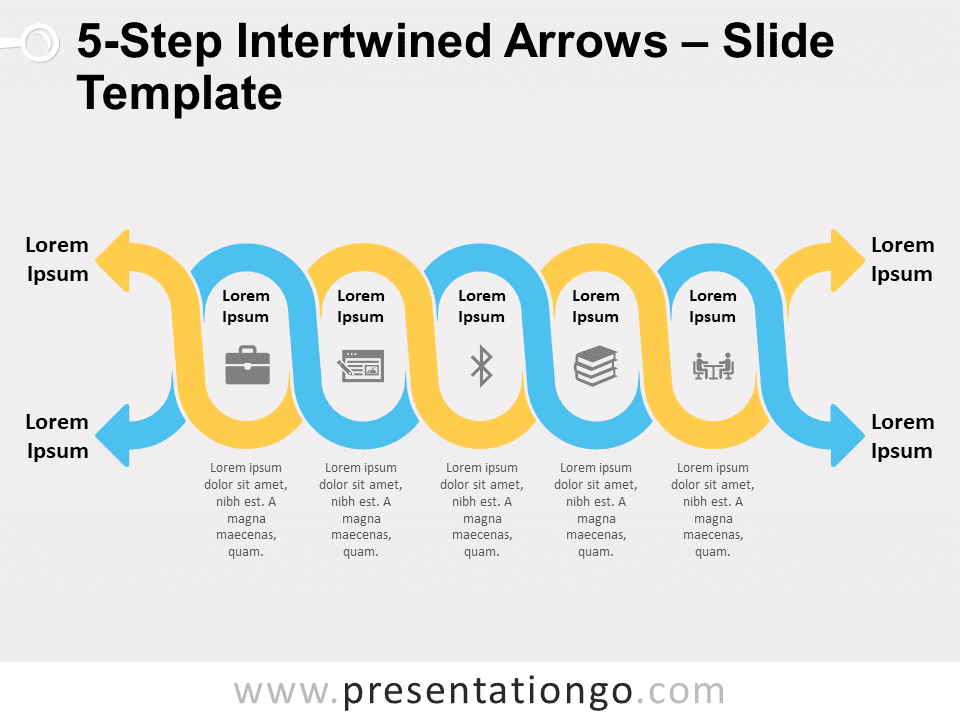 Free 5-Step Intertwined Arrows Graphic for PowerPoint and Google Slides
