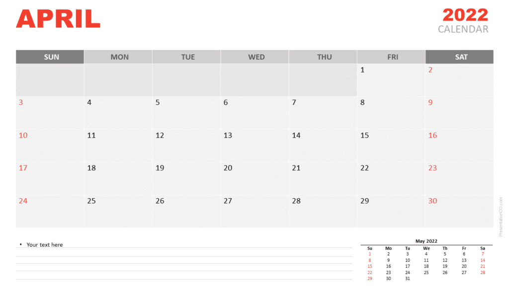 Free Calendar 2022 April Planning for PowerPoint and Google Slides