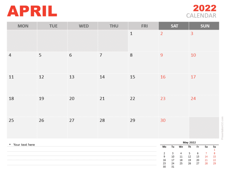 Free Calendar 2022 April for PowerPoint