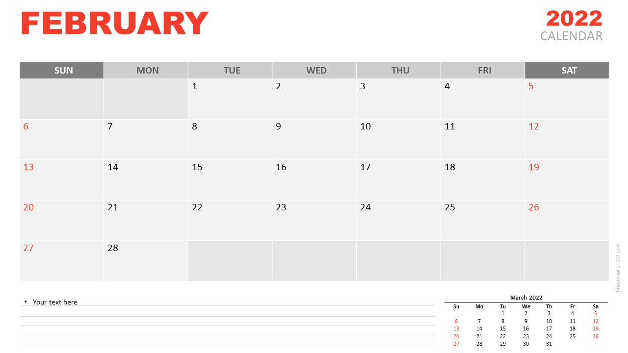 Free Calendar 2022 February Planning for PowerPoint and Google Slides