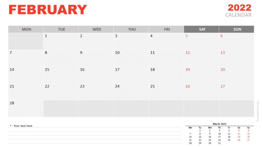 Free Calendar 2022 February for PowerPoint and Google Slides
