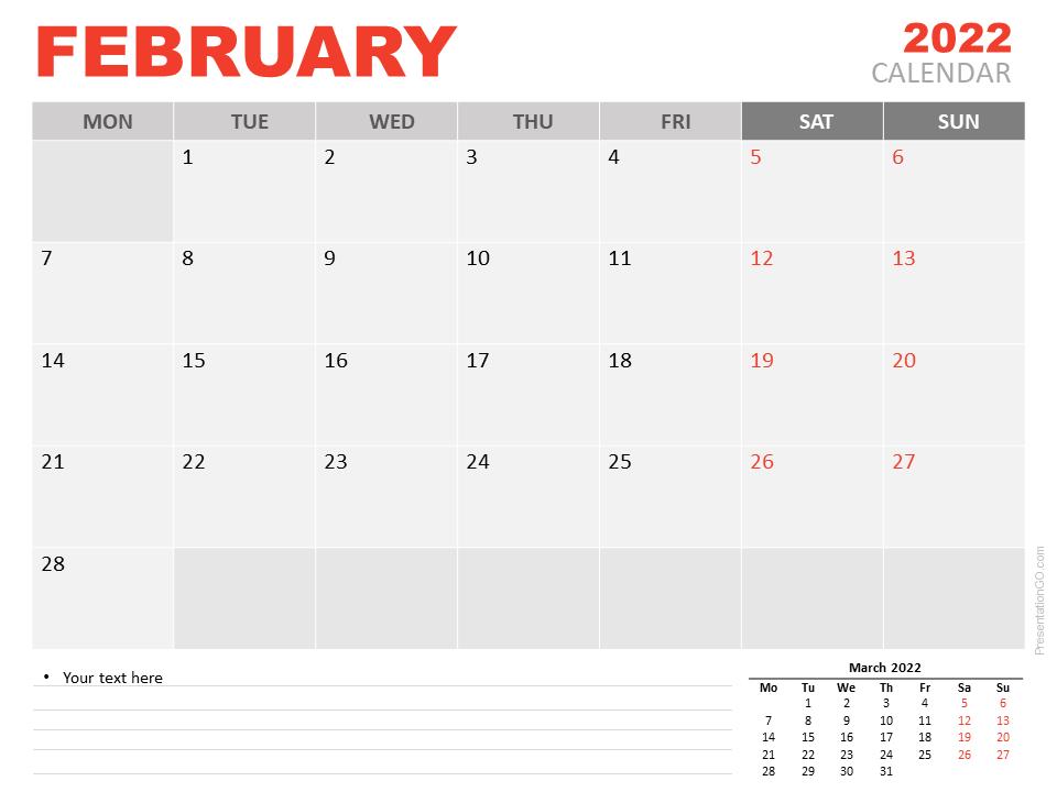 Free Calendar 2022 February for PowerPoint