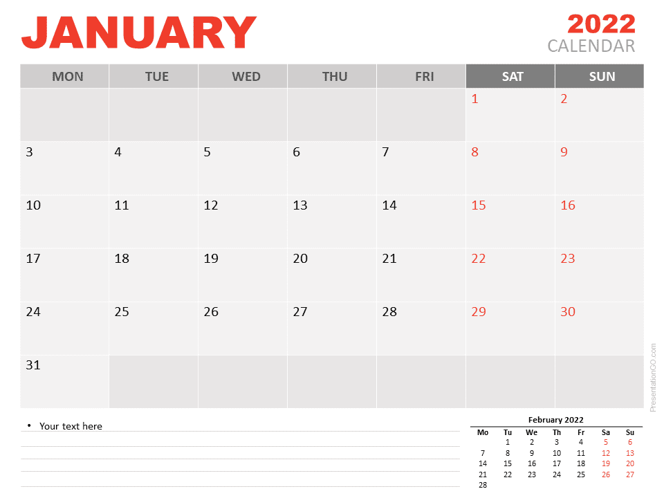 Free Calendar 2022 January for PowerPoint
