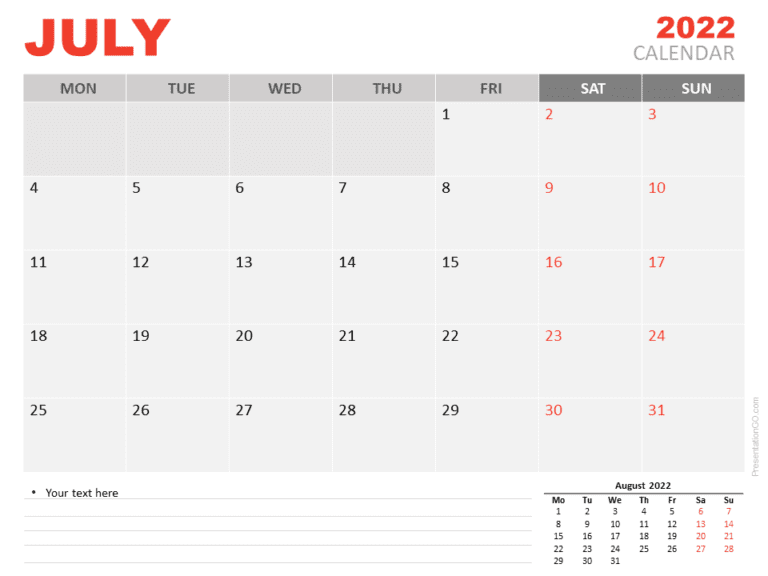 Free Calendar 2022 July for PowerPoint