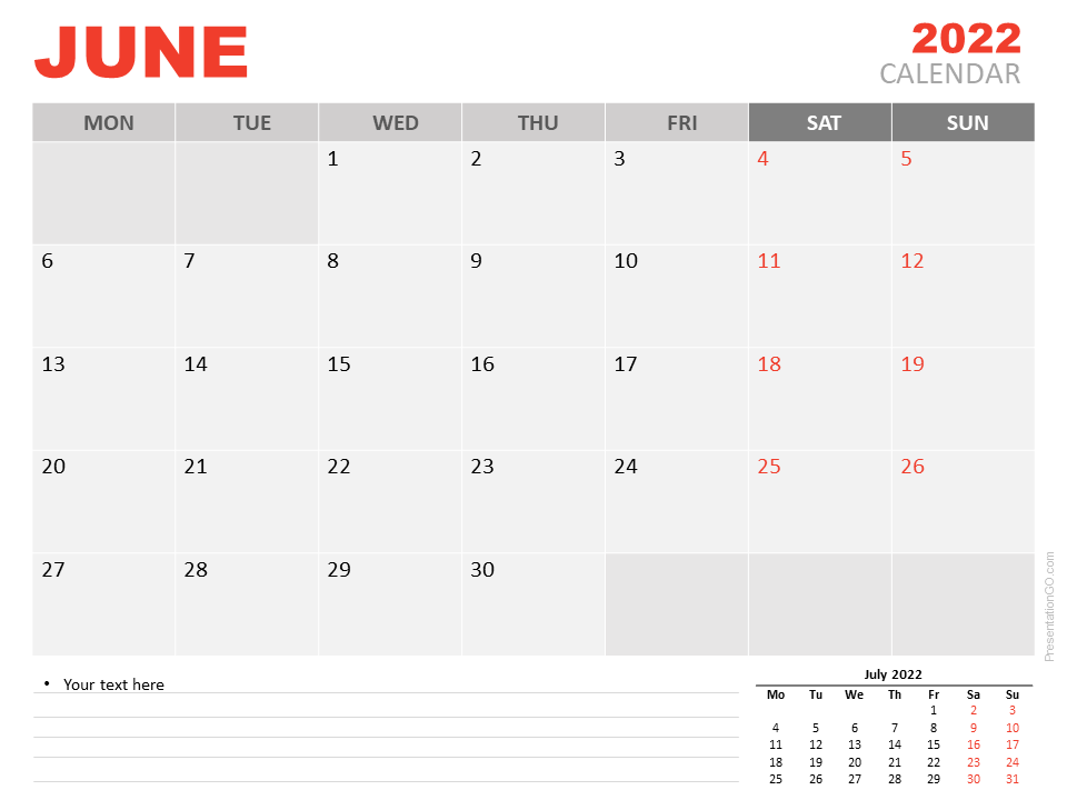 Free Calendar 2022 June Planning for PowerPoint and Google Slides