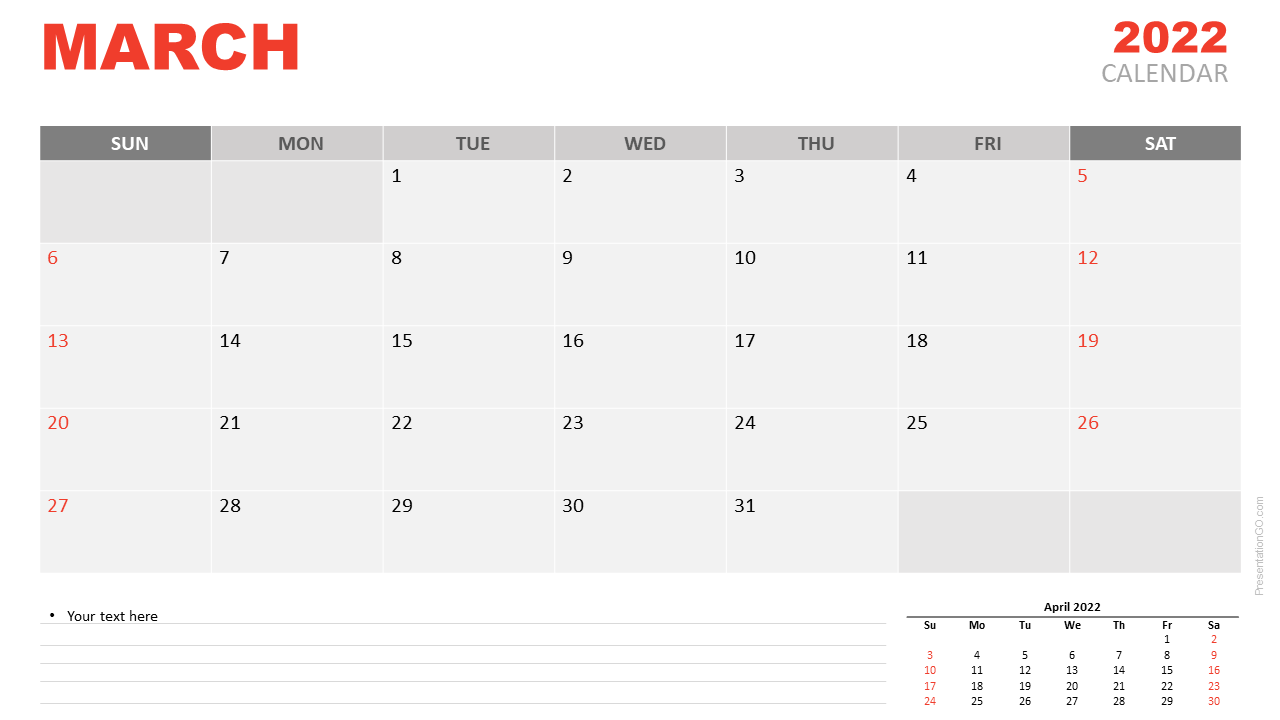 Free Calendar 2022 March Planning for PowerPoint and Google Slides