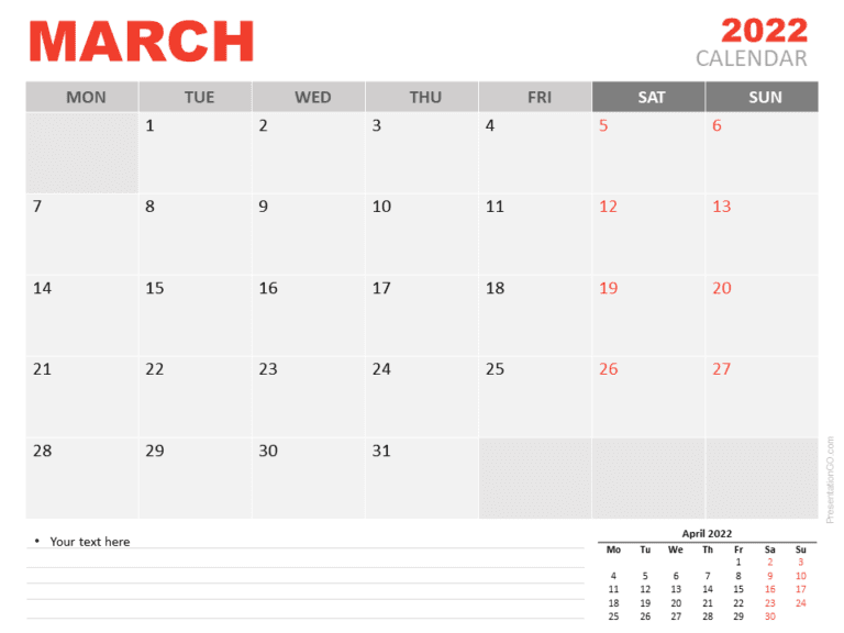 Free Calendar 2022 March for PowerPoint
