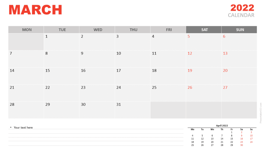 Free Calendar 2022 March for PowerPoint and Google Slides