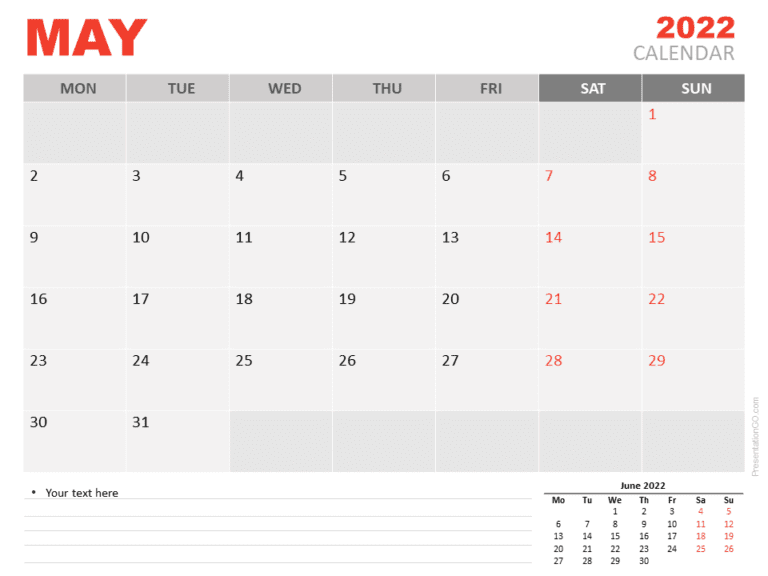 Free Calendar 2022 May for PowerPoint