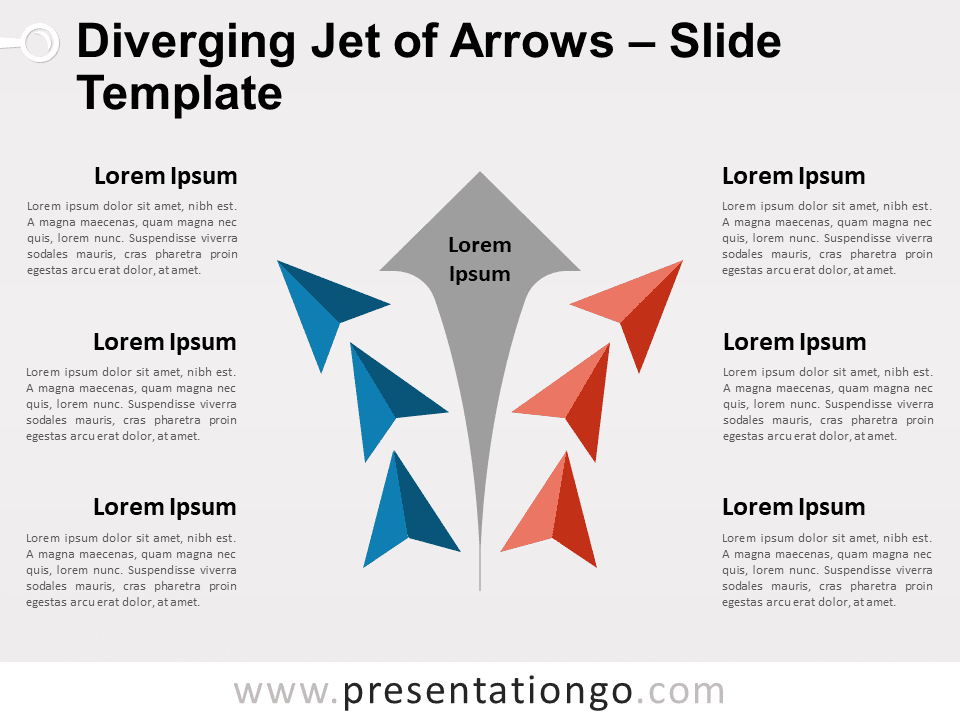 Free Diverging Jet of Arrows for PowerPoint