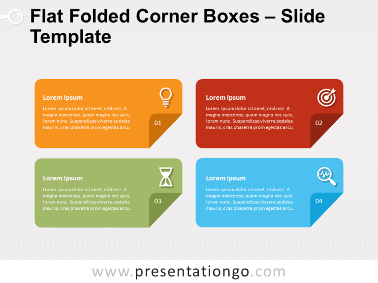 Free Flat Folded Corner Boxes for PowerPoint