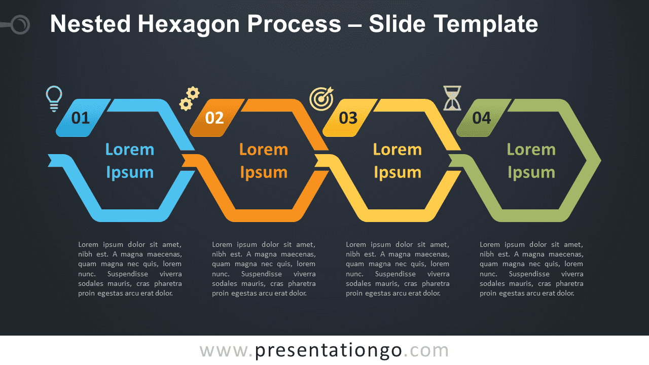 Free Nested Hexagon Process Graphic for PowerPoint and Google Slides