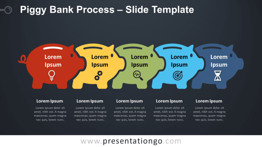 Free Piggy Bank Process Graphic for PowerPoint and Google Slides
